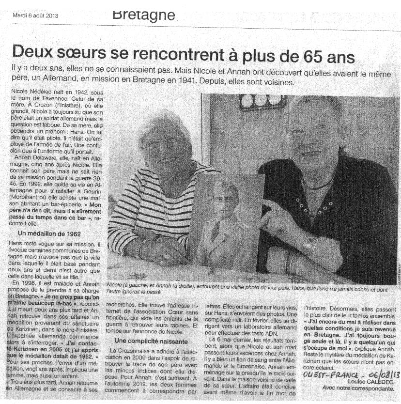 Deux soeurs se rencontrent à plus de 65 ans