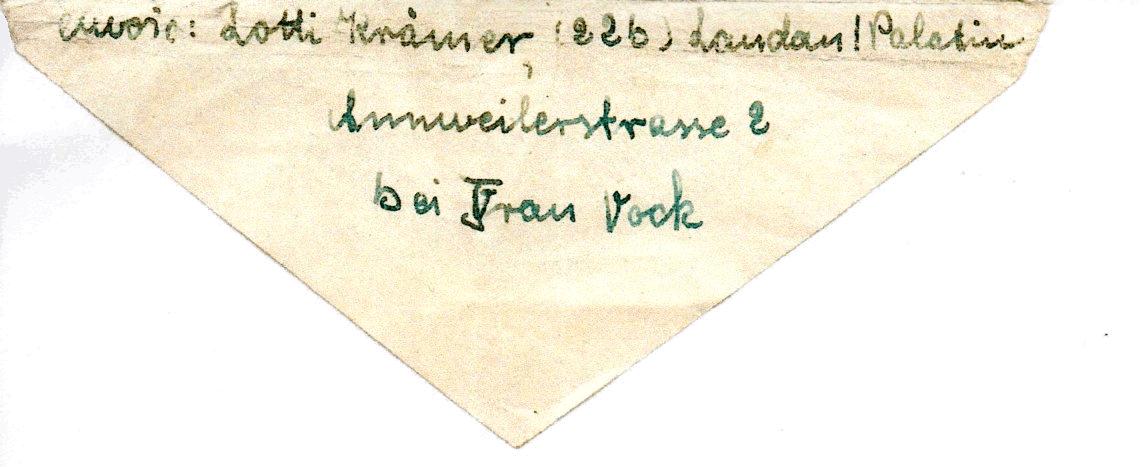 dos de la Lettre adressée au père de Peter HOFFMANN