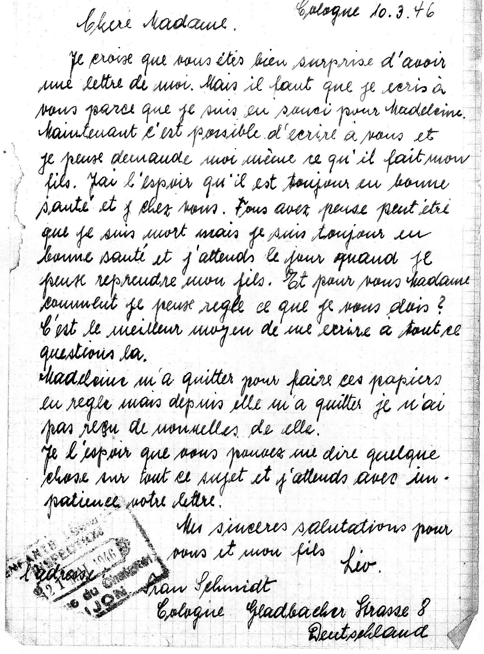 Lettre de Bernhard SCHMIDT à la nourrice.